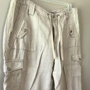 Liz Claiborne Sloan linen crop pants 16W